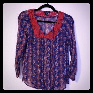 Lucky Brand Sheer Boho Peasant Top